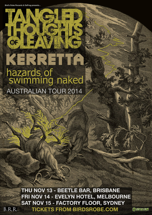 Tangled Thoughts of Leaving + Kerretta (NZ) + hazards of swimming naked announce co-headlining east coast tour